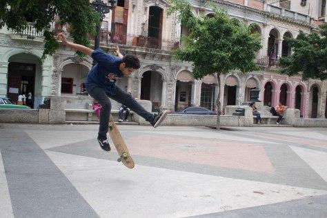 A Cuban skates in Havana on the Prado