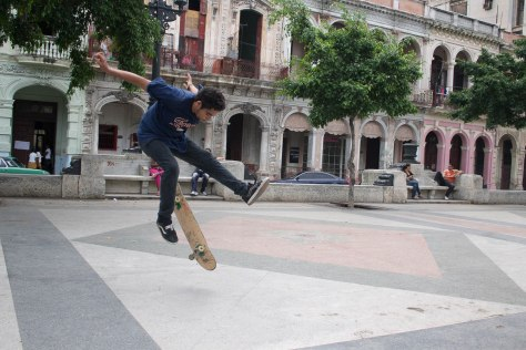 A Cuban skates in Havana on the Prado