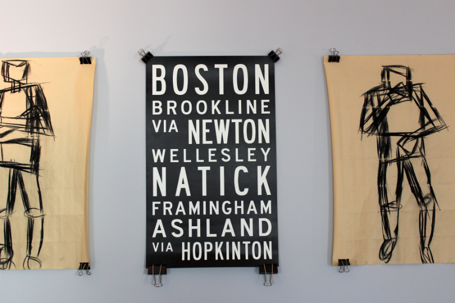 Boston marathon boston strong union jack creative typography graphic design